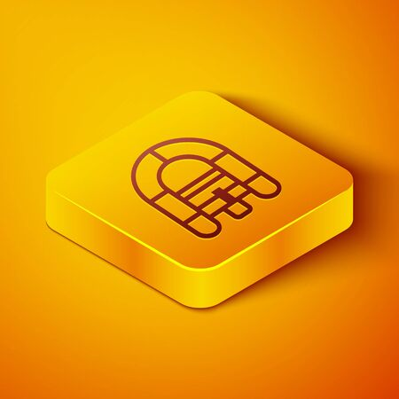 Isometric line Rafting boat icon isolated on orange background. Inflatable boat. Water sports, extreme sports, holiday, vacation. Yellow square button. Vector Illustration