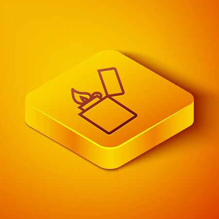 Isometric line Lighter icon isolated on orange background. Yellow square button. Vector Illustration