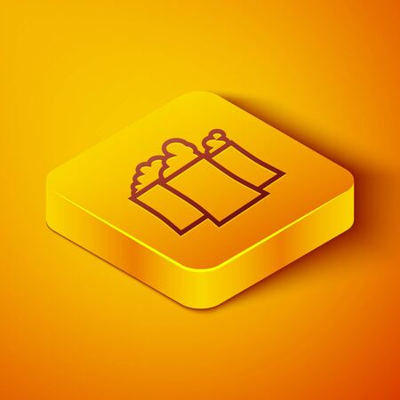 Isometric line Oil and gas industrial factory building icon isolated on orange background. Yellow square button. Vector Illustration