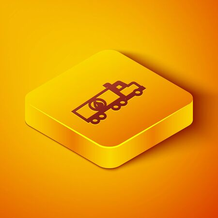 Isometric line Tanker truck icon isolated on orange background. Petroleum tanker, petrol truck, cistern, oil trailer. Yellow square button. Vector Illustration