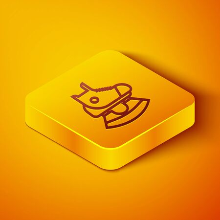 Isometric line Skates icon isolated on orange background. Ice skate shoes icon. Sport boots with blades. Yellow square button. Vector Illustration Ilustração