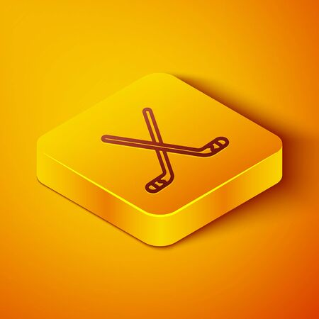Isometric line Ice hockey sticks icon isolated on orange background. Yellow square button. Vector Illustration
