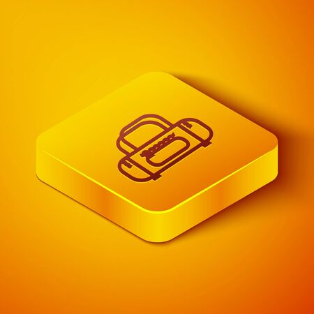 Isometric line Sport bag icon isolated on orange background. Yellow square button. Vector Illustration