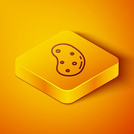 Isometric line Potato icon isolated on orange background. Yellow square button. Vector Illustration