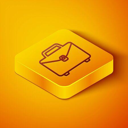 Isometric line Briefcase icon isolated on orange background. Business case sign. Business portfolio. Yellow square button. Vector Illustration Ilustracja