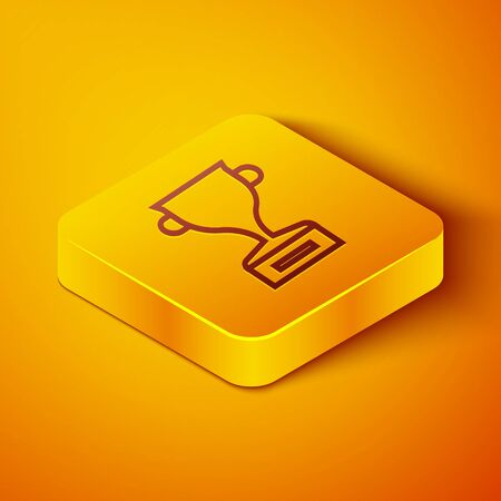 Isometric line Award cup icon isolated on orange background. Winner trophy symbol. Championship or competition trophy. Sports achievement sign. Yellow square button. Vector Illustration