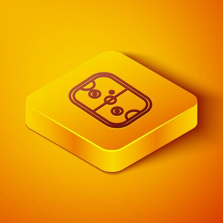 Isometric line Air hockey table icon isolated on orange background. Yellow square button. Vector Illustration