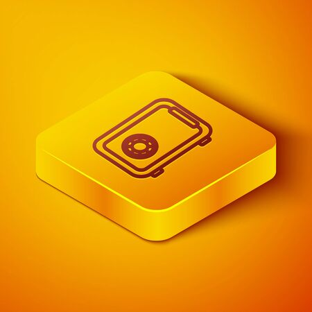Isometric line Safe icon isolated on orange background. The door safe a bank vault with a combination lock. Reliable Data Protection. Yellow square button. Vector Illustration