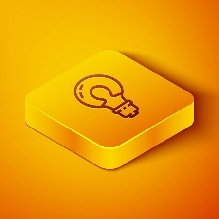 Isometric line Light bulb with concept of idea icon isolated on orange background. Energy and idea symbol. Inspiration concept. Yellow square button. Vector Illustration