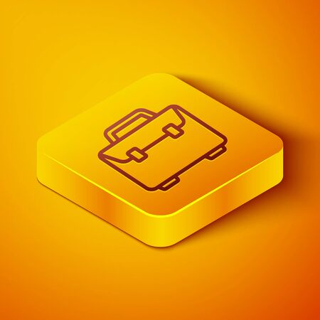 Isometric line Briefcase icon isolated on orange background. Business case sign. Business portfolio. Yellow square button. Vector Illustration