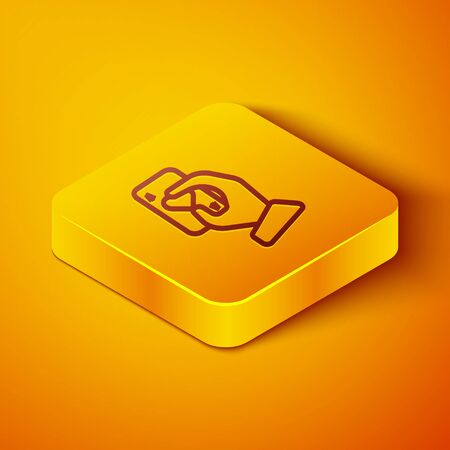 Isometric line Hand holding playing cards icon isolated on orange background. Casino game design. Yellow square button. Vector Illustration