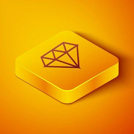 Isometric line Diamond icon isolated on orange background. Jewelry symbol. Gem stone. Yellow square button. Vector Illustration Ilustração
