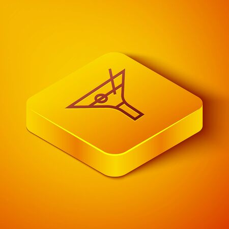 Isometric line Martini glass icon isolated on orange background. Cocktail icon. Wine glass icon. Yellow square button. Vector Illustration