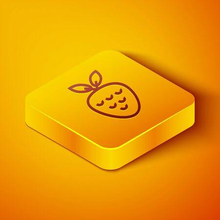 Isometric line Casino slot machine with strawberry symbol icon isolated on orange background. Gambling games. Yellow square button. Vector Illustration Ilustração