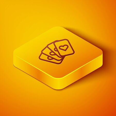 Isometric line Deck of playing cards icon isolated on orange background. Casino gambling. Yellow square button. Vector Illustration