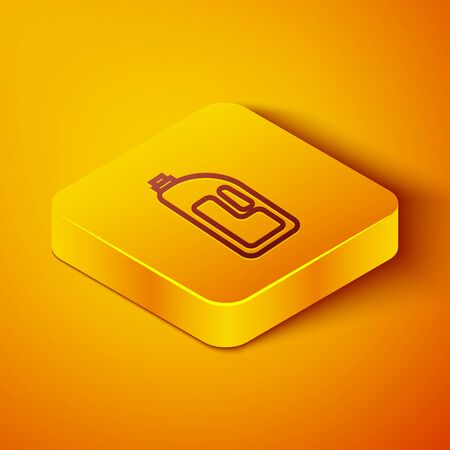 Isometric line Container with drain cleaner icon isolated on orange background. Detergent in plastic bottle. Yellow square button. Vector Illustration