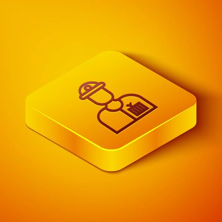 Isometric line Plumber icon isolated on orange background. Yellow square button. Vector Illustration