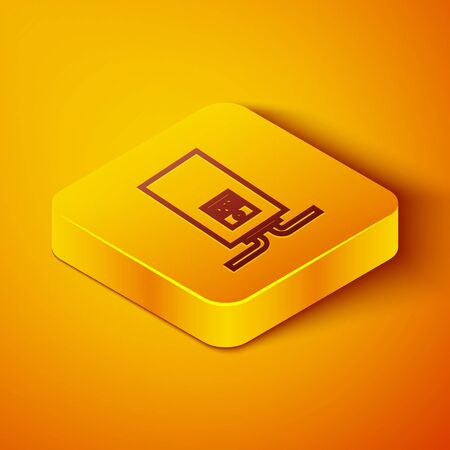Isometric line Gas boiler with a burning fire icon isolated on orange background. Yellow square button. Vector Illustration