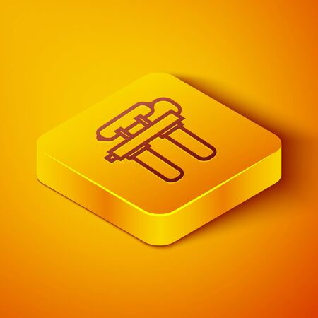 Isometric line Water filter icon isolated on orange background. System for filtration of water. Reverse osmosis system. Yellow square button. Vector Illustration