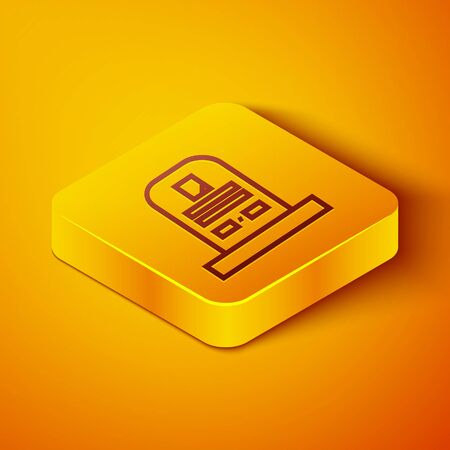 Isometric line Tombstone with RIP written on it icon isolated on orange background. Grave icon. Yellow square button. Vector Illustration