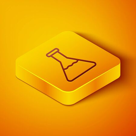 Isometric line Test tube and flask chemical laboratory test icon isolated on orange background. Laboratory glassware sign. Yellow square button. Vector Illustration