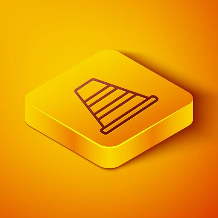 Isometric line Traffic cone icon isolated on orange background. Yellow square button. Vector Illustration