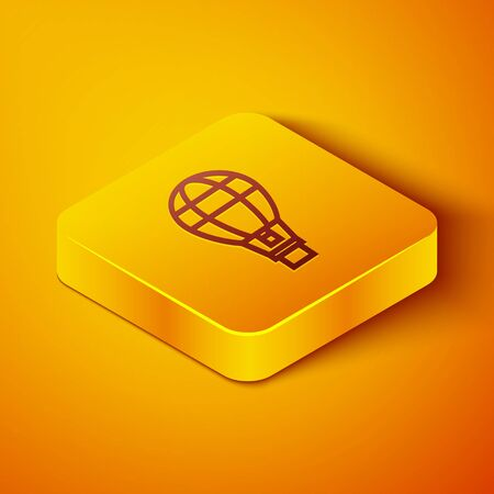 Isometric line Hot air balloon icon isolated on orange background. Air transport for travel. Yellow square button. Vector Illustration