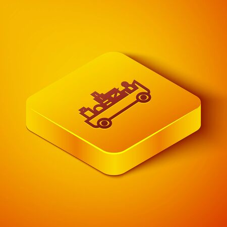 Isometric line Airport luggage towing truck icon isolated on orange background. Airport luggage delivery car. Yellow square button. Vector Illustration Ilustracja