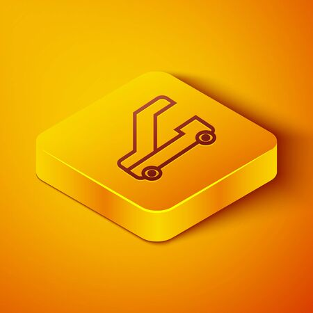 Isometric line Passenger ladder for plane boarding icon isolated on orange background. Airport stair travel. Yellow square button. Vector Illustration