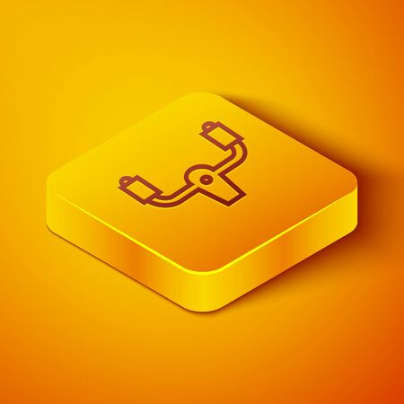Isometric line Aircraft steering helm icon isolated on orange background. Aircraft control wheel. Yellow square button. Vector Illustration Vettoriali
