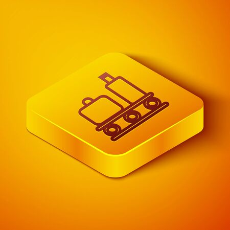 Isometric line Airport conveyor belt with passenger luggage, suitcase, bag, baggage icon isolated on orange background. Yellow square button. Vector Illustration