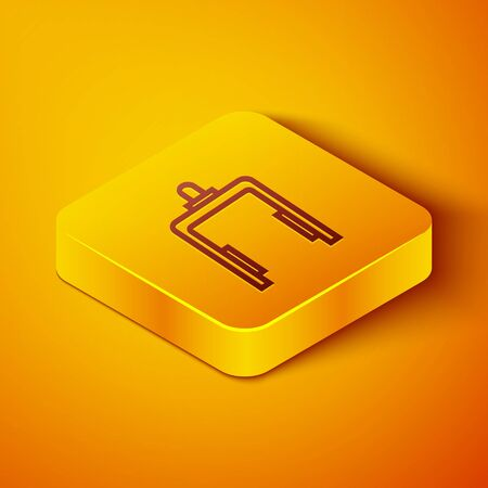 Isometric line Metal detector in airport icon isolated on orange background. Airport security guard on metal detector check point. Yellow square button. Vector Illustration