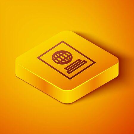 Isometric line Passport with biometric data icon isolated on orange background. Identification Document. Yellow square button. Vector Illustration Foto de archivo - 142141881