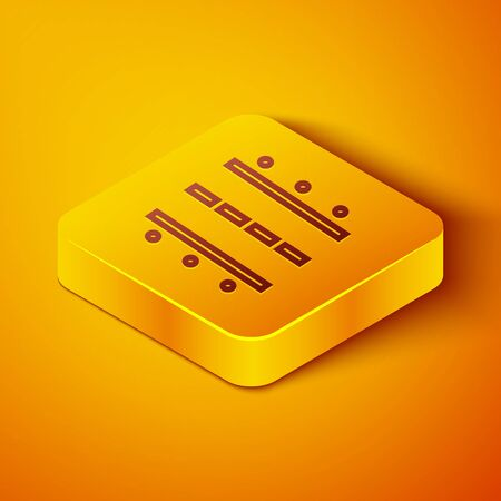 Isometric line Airport runway for taking off and landing aircrafts icon isolated on orange background. Yellow square button. Vector Illustration Иллюстрация