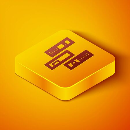 Isometric line Shelf with books icon isolated on orange background. Shelves sign. Yellow square button. Vector Illustration