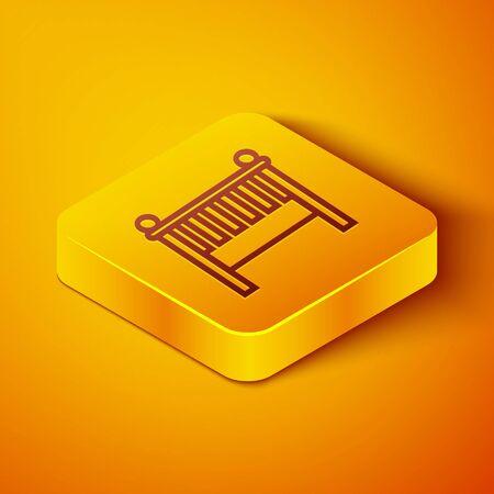 Isometric line Baby crib cradle bed icon isolated on orange background. Yellow square button. Vector Illustration Vektoros illusztráció