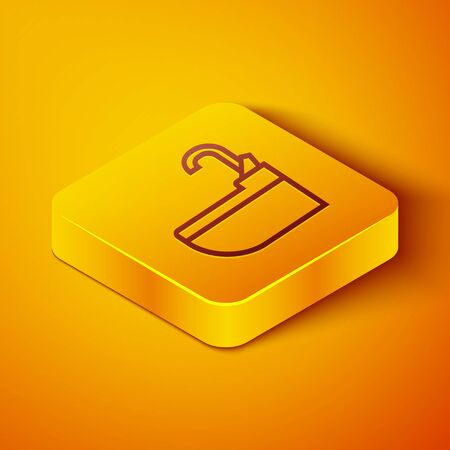 Isometric line Washbasin with water tap icon isolated on orange background. Yellow square button. Vector Illustration