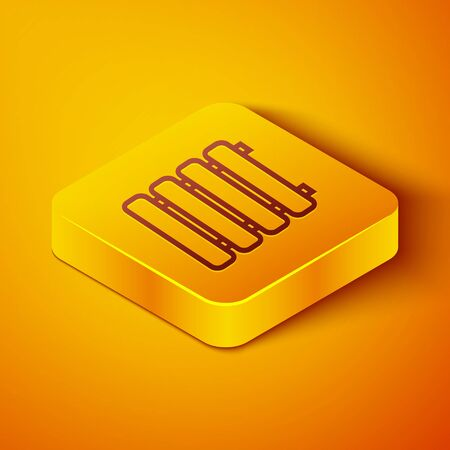 Isometric line Heating radiator icon isolated on orange background. Yellow square button. Vector Illustration