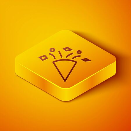 Isometric line Festive confetti icon isolated on orange background. Yellow square button. Vector Illustration  イラスト・ベクター素材