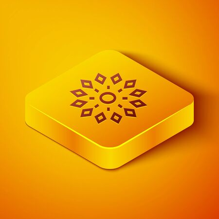 Isometric line Firework icon isolated on orange background. Concept of fun party. Explosive pyrotechnic symbol. Yellow square button. Vector Illustration 矢量图像
