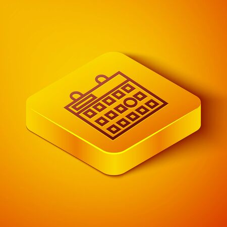 Isometric line Birthday calendar icon isolated on orange background. Yellow square button. Vector Illustration 向量圖像