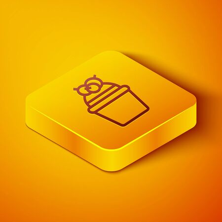 Isometric line Cake icon isolated on orange background. Happy Birthday. Yellow square button. Vector Illustration