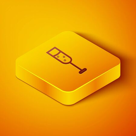 Isometric line Glass of champagne icon isolated on orange background. Yellow square button. Vector Illustration