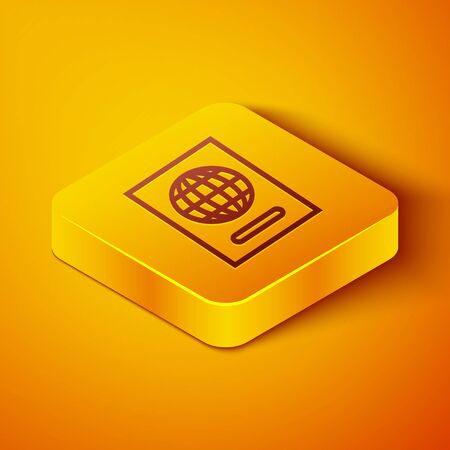Isometric line Passport with biometric data icon isolated on orange background. Identification Document. Yellow square button. Vector Illustration