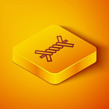 Isometric line Barbed wire icon isolated on orange background. Yellow square button. Vector Illustration Illusztráció