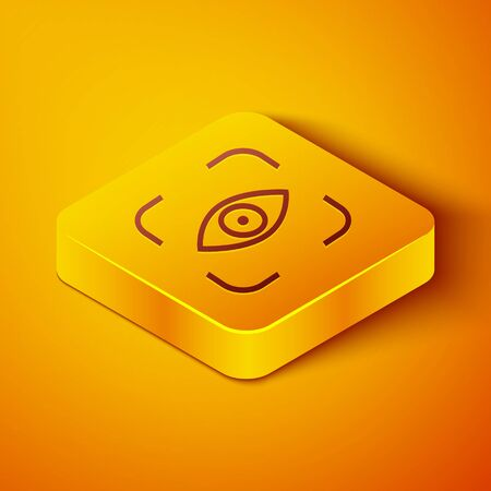 Isometric line Eye scan icon isolated on orange background. Scanning eye. Security check symbol. Cyber eye sign. Yellow square button. Vector Illustration