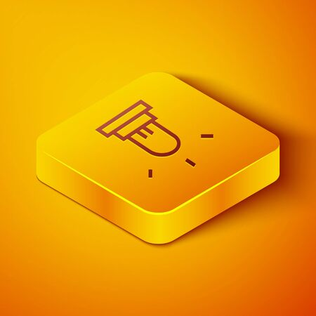 Isometric line Motion sensor icon isolated on orange background. Yellow square button. Vector Illustration
