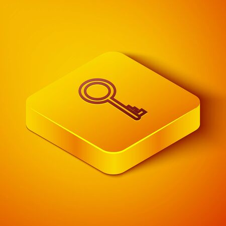 Isometric line Old key icon isolated on orange background. Yellow square button. Vector Illustration