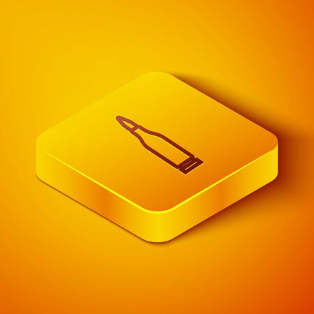Isometric line Bullet icon isolated on orange background. Yellow square button. Vector Illustration
