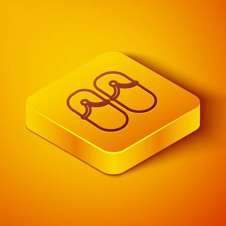 Isometric line Flip flops icon isolated on orange background. Beach slippers sign. Yellow square button. Vector Illustration